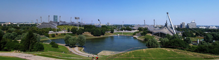 tent city: Panorama of the stadium in Olympic park, Munich, Germany Editorial