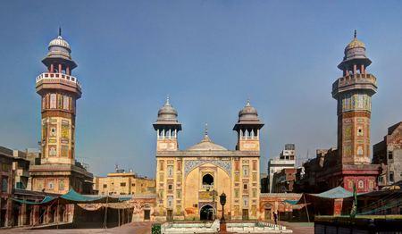 khan: Facade of Wazir Khan Mosque, Lahore, Pakistan Editorial
