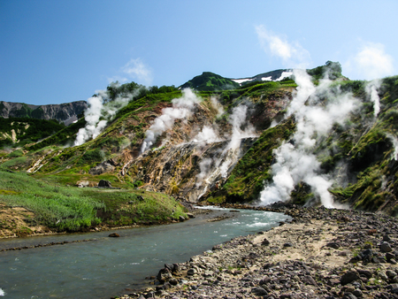 geysers: Panorama of Geysers Valley in Kamchatka peninsula, Russia