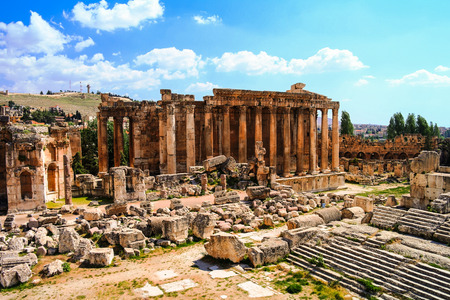 Ruins of Bacchus temple in Baalbek, Bekaa valley, Lebanon Archivio Fotografico