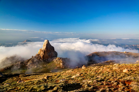 dagestan: Panorama of Schalbus-Dag mountain, Dagestan, Caucasus Russia Stock Photo