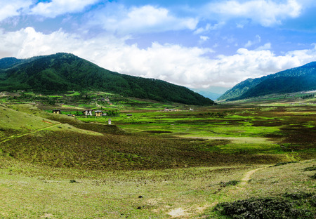Landscape of mountain Phobjikha valley in Bhutan Himalayas