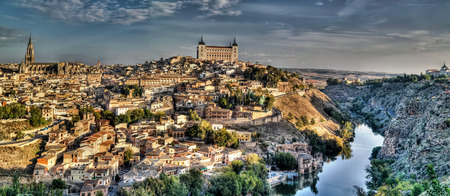 toledo town: Panorama of the old city of Toledo, Tagus river, Spain