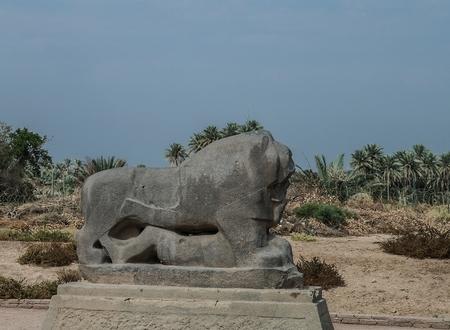 babylon: Statue of Babylonian lion in Babylon ruins, Iraq