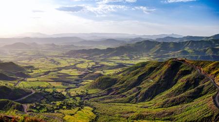 Semien 산과 계곡 주위 Lalibela, 이디오피아의 파노라마 스톡 콘텐츠