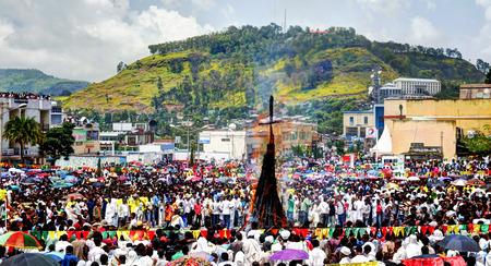 ethiopian ethnicity: Ceremony of Meskel, Holy Cross finding festival in Gondar, Ethiopia