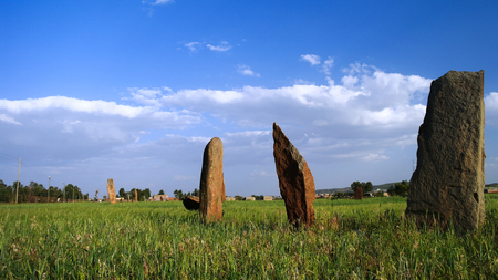 megalith: ancient Megalith stela field in Axum, Ethiopia Stock Photo