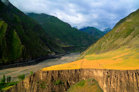 dagestan: Panorama of Akhtychay river and valley, Midjakh Akhty, Dagestan Russia Stock Photo