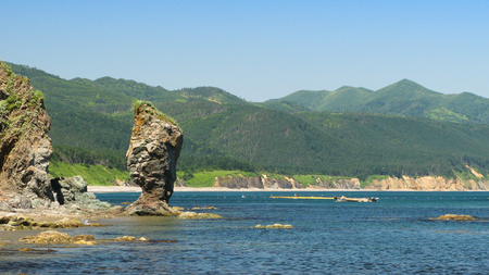 Cape Velikan, stone giant nature sculpture, Sakhalin island Russia