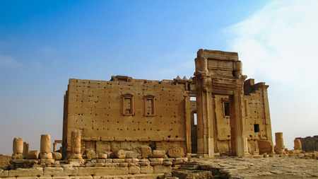 Destroyed temple of Baal in Palmyra, Syria. b