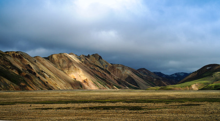 Landmannalaugar colored mountains, great valley inner part of island, Iceland