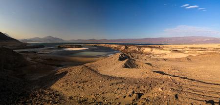 Panorama of Crater salt lake Assal, Djibouti Stock Photo