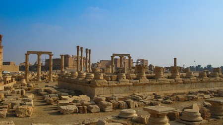Panorama of Palmyra columns and ancient city, destroyed by ISIS, Syria Stock Photo
