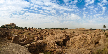 restored: Panorama of partially restored Babylon ruins and Former Saddam Hussein Palace, Babylon, Hillah, Iraq