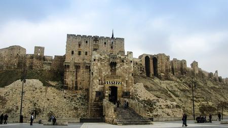 シリア、アレッポ城塞への入り口 報道画像