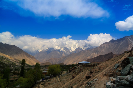 View to Rakaposhi peak, Karakorum mountains, Pakistan Imagens