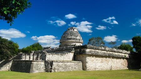 itza: View to observatory ruin in Chichen Itza ancient city, Mexico Stock Photo