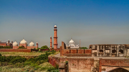 maharaja: Panorama view of Lahore fort, Badshahi mosque and Samadhi of Ranjit Singh Lahore, Punjab, Pakistan