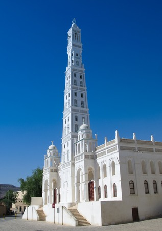 Exterior view of Al-Muhdar mosque, Tarim, Hadhramaut, Yemen