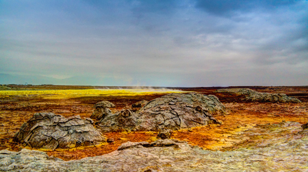 Panorama inside Dallol volcanic crater in Danakil depression, Afar, Ethiopia