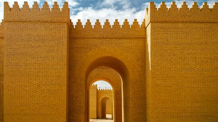 babylon: Gate of partially restored Babylon ruins, Hillah, Iraq