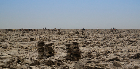 Production of salt on Karum lake, Danakil, Afar, Ethiopia Archivio Fotografico