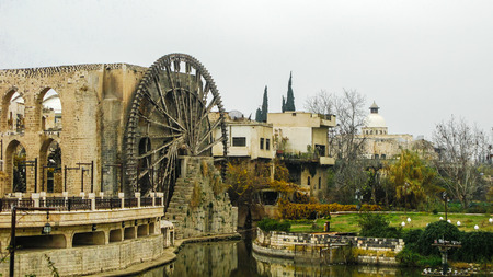 urbanism: Irrigation Water-wheel norias in Hama on the Orontes river, Syria