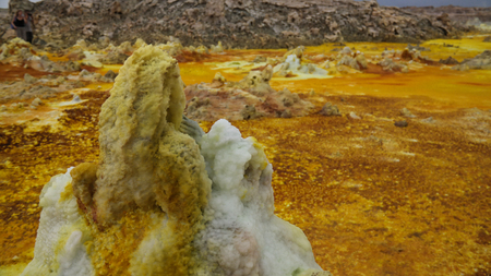 Salt structure close-up inside Dallol volcanic crater in Danakil depression, Afar, Ethiopia Stock Photo