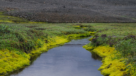 nowhere: Panorama of Huseyjarkvisl river valley near Middle of Nowhere in Iceland Stock Photo