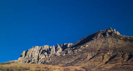 Ghost valley landscape and Demirji mountain, Crimea Stock Photo