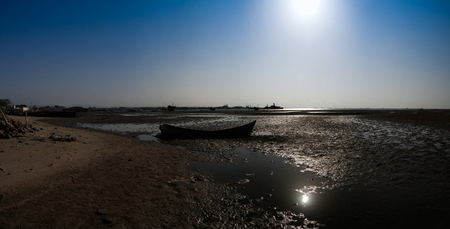 ship wreck: Panorama of Berbera port and beach with boats, Somalia