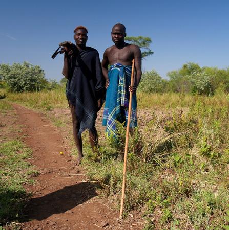 ethiopian ethnicity: Mago, Omo valley, Ethiopia- 03 october 2012: Mursi tribe men in national dress