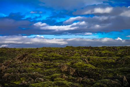 Landscape of Lakagigar volcanic valley in central Iceland