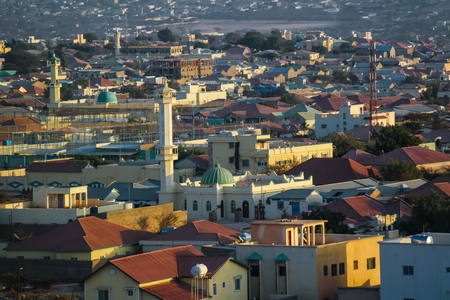Aerial view to Hargeisa, biggest city of Somaliland, Somalia Archivio Fotografico