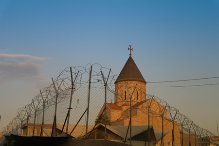 Armenian church behind barbed wire, Baghdad, Iraq