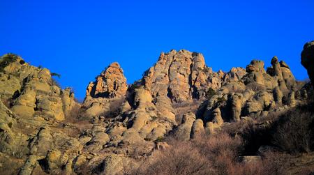 Ghost valley landscape and Demirji mountain, Crimea Stock Photo
