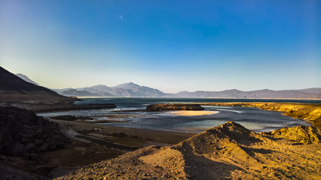 Panorama of Crater salt lake Assal, Djibouti Banco de Imagens