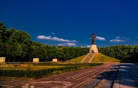 View to Soviet Soviet War Memorial aka Soviet Cenotaph in Treptower Park in Berlin, Germany