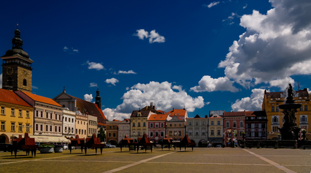 budejovice: Panorama view of Premysla Otokar square, Ceske Budejovice, Chech Republic Editorial