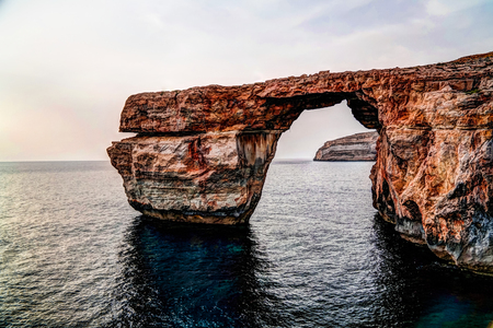 Sea view to Azure window natural arch, now vanished, Gozo island, Malta