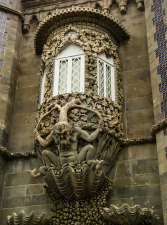 The depiction of a mythological triton in Pena palace in Sintra, Portugal Stock Photo