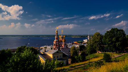 Aerial view to Cathedral of Holy Blessed Virgin Mary and Volga river, Nizhny Novgorod, Russia Stock Photo