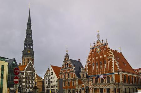 Exterior view to City hall and square, Riga, Latvia