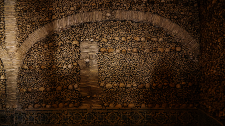 transient: Interior of Chapel of the Bones in Evora Portugal Stock Photo