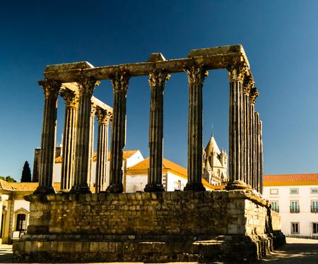 corinthian column: Ruins of Roman temple of Diana in Evora Portugal