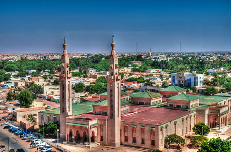 The Aerial view to Grand Mosque in Nouakchott in Mauritania
