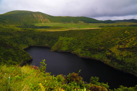 Aerial view to lake Comprida, Flores island Azores. Portugal