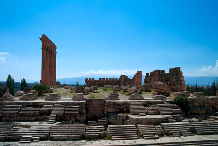 heliopolis: Ruins of Jupiter temple and great court of Heliopolis in Baalbek, Bekaa valley Lebanon