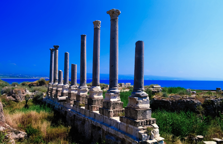 Remains of ancient columns at Al Mina excavation site,Tyre, Lebanon