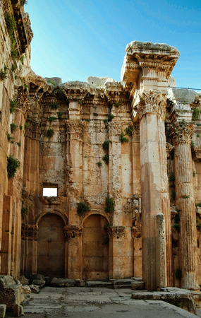 heliopolis: Ruins of Bacchus temple in Baalbek, Bekaa valley Lebanon